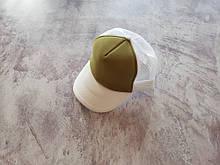 Белая кепка тракер с горчичной лобовой частью