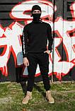 Штаны утеплённые чёрные с лампасами Fila, фото 2