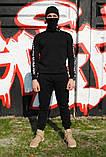 Штаны утеплённые чёрные с лампасами Fila, фото 4