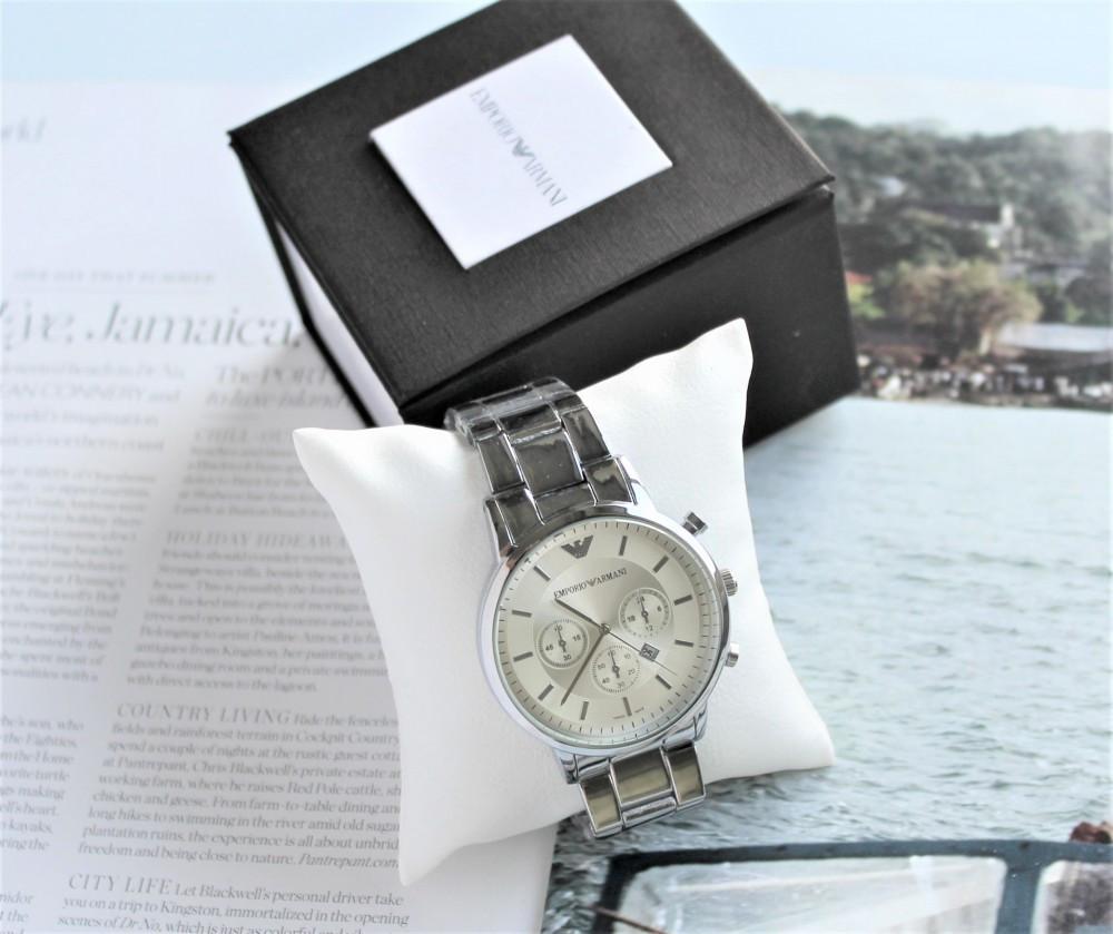 Мужские часы Armani в коробке silver