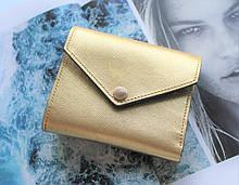 """Жіночий шкіряний гаманець """"Gold"""" золотистий"""