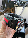 Belt Gucci G Buckle Green/Red/Green Silver, фото 6