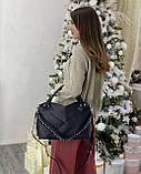 Женская кожаная сумка polina&eiterou черная, фото 4