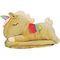 Игрушка подушка плед Пони единорог, бежевая плюшевая декоративная подушка-плед 3в1