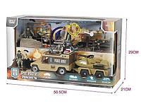 Игровой набор военной техники: 4 солдатика, вертолет, джип, танк