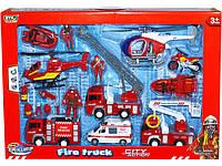 Набор пожарной техники: машина пожарная, скорая помощь, лодка, мотоцикл