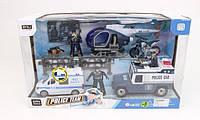 Набор полицейской техники: 2 машинки, вертолет, мотоцикл