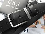 Мужской ремень пряжка серебро Calvin Klein черный, фото 2
