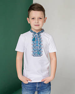 Вышитая футболка для мальчика с коротким рукавом Дем'янчик (синяя вышивка)