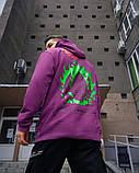 Худі оверсайз Гармата Вогонь Keep Clean фіолетове, фото 5