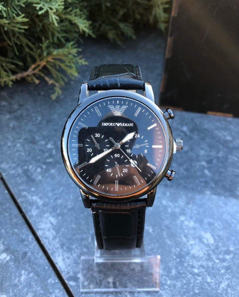 Часы Emporio armani leather Black