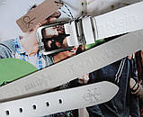 Кожаный ремень для джинсов Calvin Klein белый, фото 3