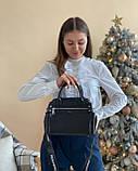 Женская кожаная сумка polina&eiterou черная, фото 5