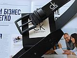 Мужской кожаный ремень с черной пряжкой Calvin Klein черный, фото 2