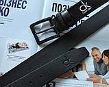 Мужской кожаный ремень с черной пряжкой Calvin Klein черный, фото 4