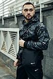 Комплект Nike Windrunner Jacket камуфляж серо-черный +Штаны President черные + Барсетка в подарок, фото 4