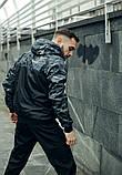 Комплект Nike Windrunner Jacket камуфляж серо-черный +Штаны President черные + Барсетка в подарок, фото 7