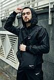 Комплект Чёрный Ветровка Найк (Nike) + Штаны + Барсетка в подарок. Спортивный костюм, фото 2