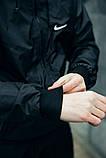 Комплект Чёрный Ветровка Найк (Nike) + Штаны + Барсетка в подарок. Спортивный костюм, фото 3