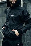 Комплект Чёрный Ветровка Найк (Nike) + Штаны + Барсетка в подарок. Спортивный костюм, фото 4