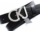 Кожаный ремень Calvin Klein унисекс черный, фото 2
