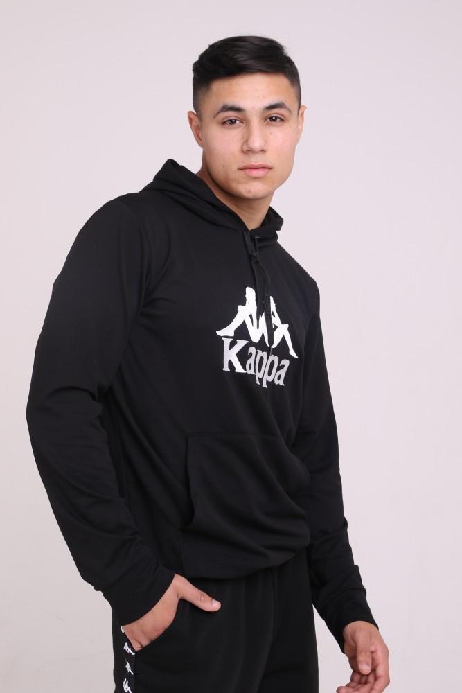 Худі чорний з вишитим логотипом Kappa