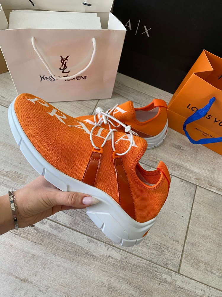 Prada Knit Fabric Sneakers Orange