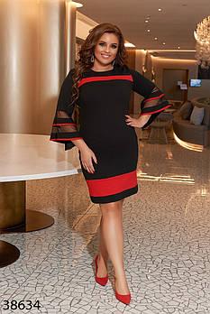 / Размер 48-50,52-54,56-58,60-62 / Женское платье плюс сайз 38634 / цвет черный с красным