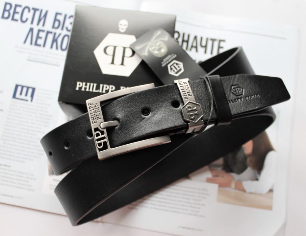 Мужской ремень Philipp Plein кожаный черный