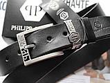 Мужской ремень Philipp Plein кожаный черный, фото 2
