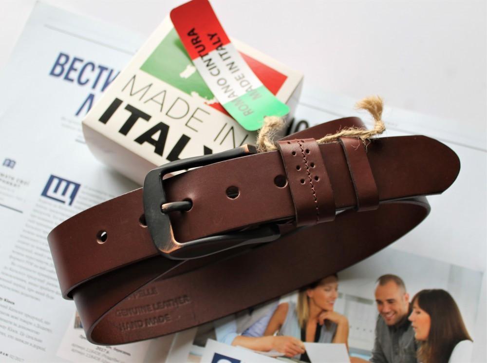 Итальянский кожаный ремень коричневый