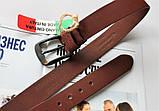 Итальянский кожаный ремень коричневый, фото 2
