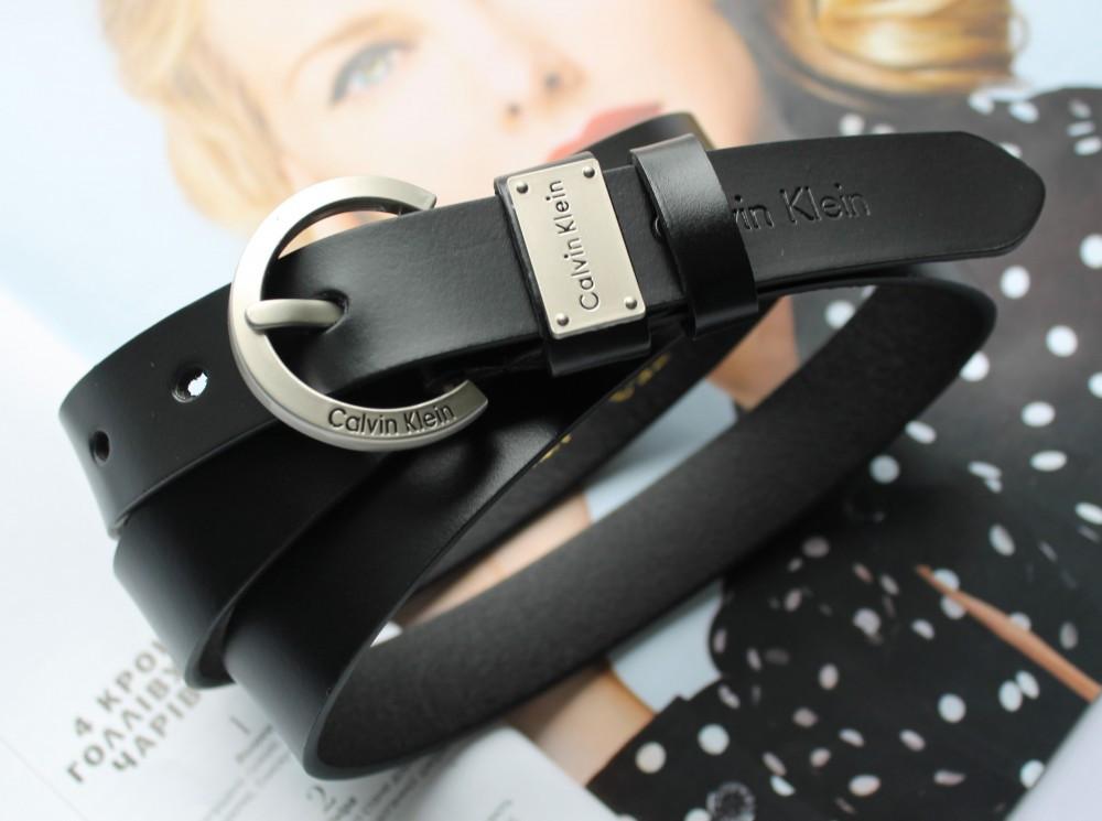 Женский кожаный ремень Calvin Klein черный