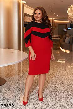 / Размер 50-52,54-56,58-60 / Женское платье плюс сайз 38632 / цвет красный с черным