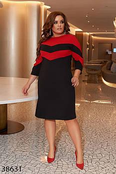 / Размер 50-52,54-56,58-60 / Женское платье плюс сайз 38631 / цвет черный с красным