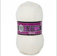 Турецкая пряжа для вязания Kartopu GONCA ( ГОНКА) K013 молоко 5шт
