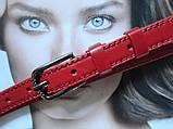 Женский узкий кожаный ремень красный, фото 2