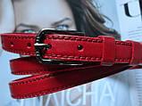 Женский узкий кожаный ремень красный, фото 3