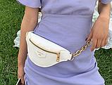 Нежная белая сумка бананка, поясная сумка на ремне, фото 2