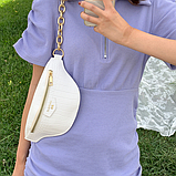 Нежная белая сумка бананка, поясная сумка на ремне, фото 3
