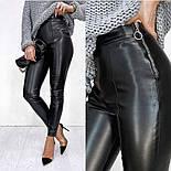 """Утепленные трендовые кожаные леггинсы """"Style"""", фото 4"""