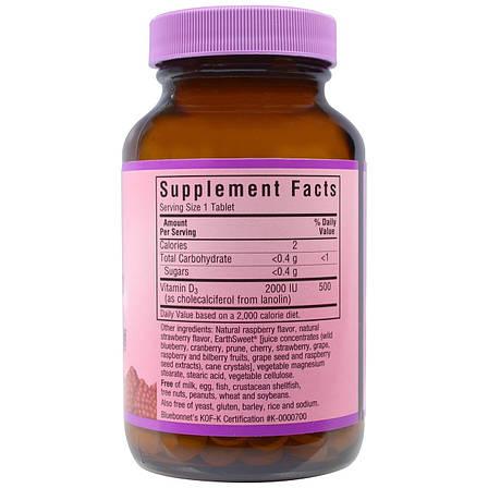 Витамин D3 2000IU, Вкус Малины, Earth Sweet Chewables, Bluebonnet Nutrition, 90 жевательных таблеток, фото 2
