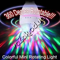Светодиодная вращающаяся диско лампа LED Full Color Rotating Lamp Mini Party Light с переходником на розетку, фото 1
