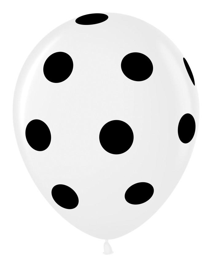 """0702 Куля 12"""" (30 см) біла в чорний горошок (Малайзія)"""
