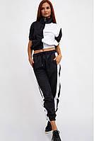 Женский спортивный модный двухцветный костюм укороченный свитшот и джоггеры на резинке
