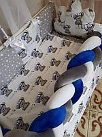 Комплект детского постельного белья в кроватку, защита в кроватку, бортики в кроватку Бонна коса мишки