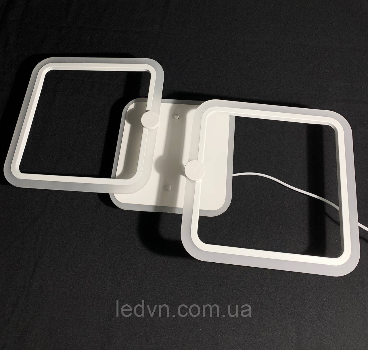 Светодиодная led люстра 2 квадрата белая 55 ватт