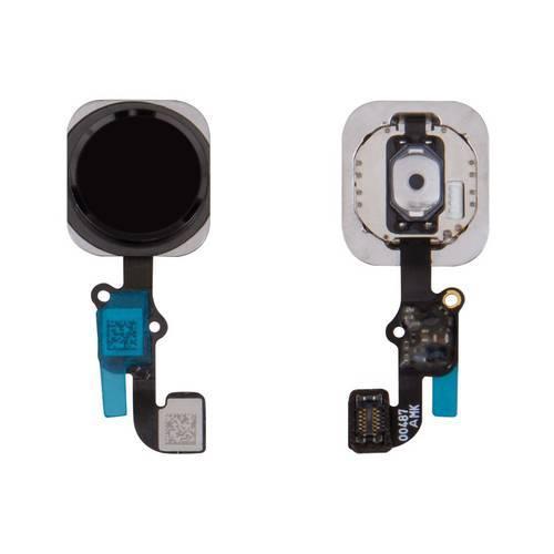 Шлейф для iPhone 6S, iPhone 6S Plus, кнопки Home, чорний, з пластиком