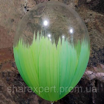 Салатово/Прозрачные латексные шары БРАШ, фото 2
