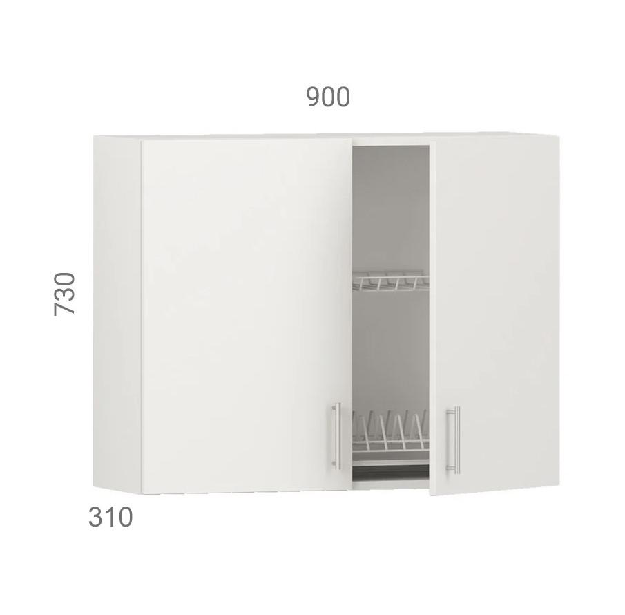 Кухонний шафа навісний (модуль) з сушкою (з дном з дсп) і фасадами з пластику на основі МДФ (90х31х73 см)